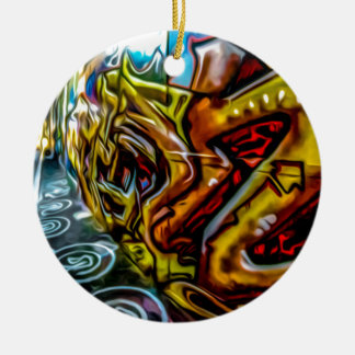 1711 COLORFUL STREET GRAFFITI GANGSTER CITY WALLS CERAMIC ORNAMENT