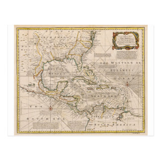 1720 Map of the West Indies by Emanuel Bowen Postcard