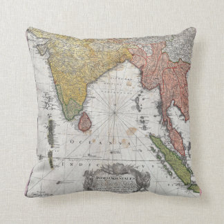 1748 Homann Heirs Map of India and Southeast Asia Throw Pillow
