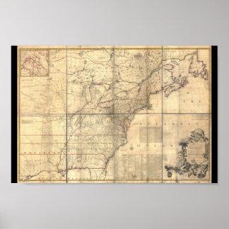 1750 Mitchell Map America Poster
