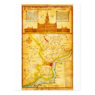 1752 1850 Scull Heap Map of Philadelphia E Postcard