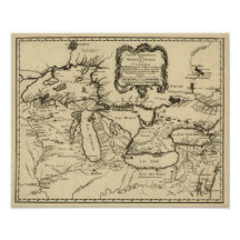 1755 Great Lakes and New France / Canada Map Posters