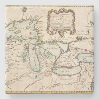 1755 - Map of the Great Lakes Region Stone Coaster