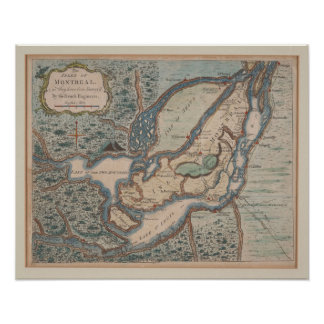 1761 Map off Montreal Poster