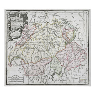 1764 La Suisse Map Poster