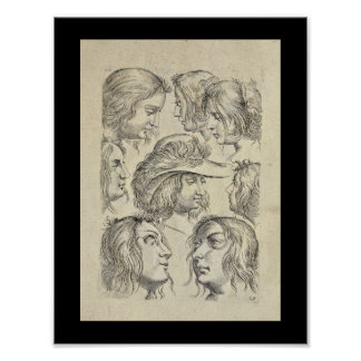 1770 Artistic Anatomy Face Hair Art Print