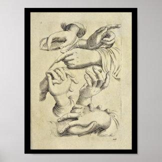 1770 Artistic Anatomy Human Hand Fingers Print