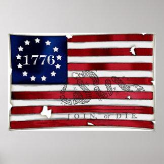 1776 American Flag Poster