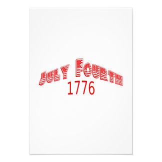 1776 le quatrième juillet rouge bristols personnalisés
