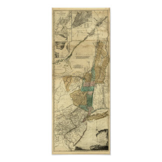 1776 map of New York, New Jersey and Quebec Poster