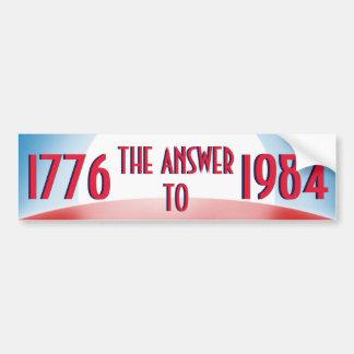 1776 The Answer to 1984 Bumper Sticker
