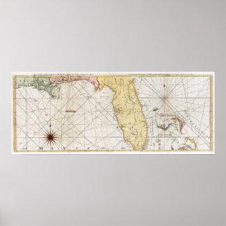 1777 Florida Map Poster