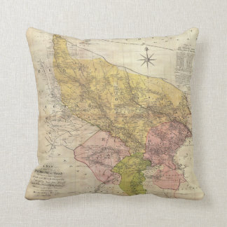1777 Rennell Dury Wall Map of Delhi and Agra India Throw Pillow