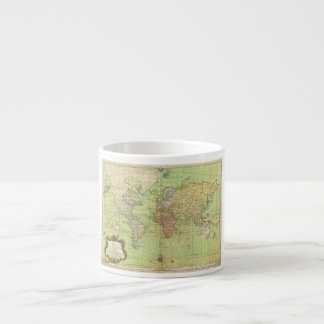 1778 Bellin Nautical Chart or Map of the World Espresso Cup