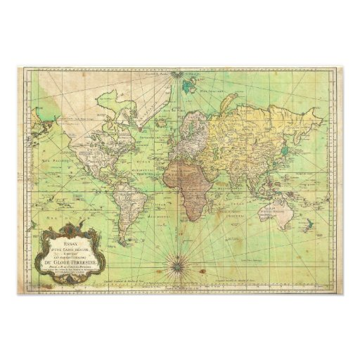 1778 Bellin Nautical Chart or Map of the World Personalized Invitation