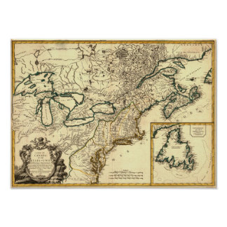 1778 Map of Canada and the United States Poster