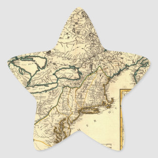 1778 Map of Canada and the United States Star Sticker