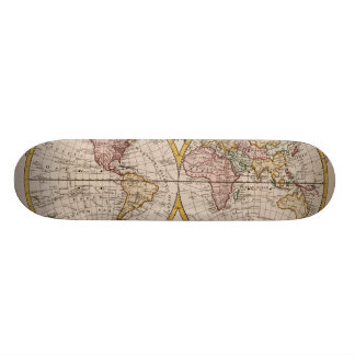 1782 Map of the World by George Augustus Baldwyn Custom Skate Board