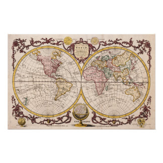 1782 Map of the World by George Augustus Baldwyn Customized Stationery