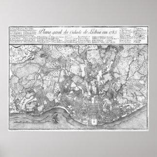 1785 Map of Lisbon Poster
