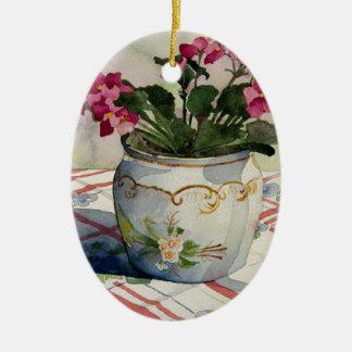 1790 African Violets in Blue Pot Ceramic Ornament