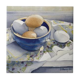 1791 Eggs in Blue Bowl Tile