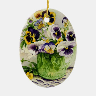 1794 Pansies in Green Glass Pitcher Ceramic Ornament