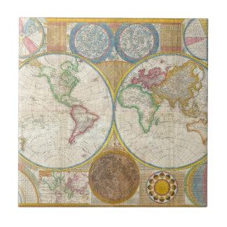 1794 Samuel Dunn Map of the World in Hemispheres Tiles