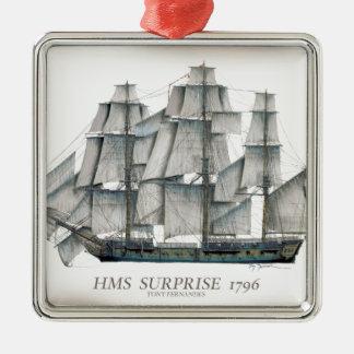 1796 HMS Surprise aged Metal Ornament