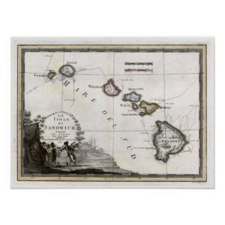 1798 Map Le Isole di Sandwich Poster