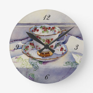 1799 Teacup on Linen Round Clock
