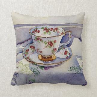 1799 Teacup on Linen Throw Pillow