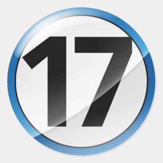 17 blue sticker