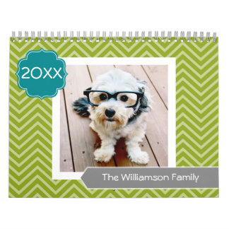 17 Photo Family Template and Colorful Patterns Wall Calendars