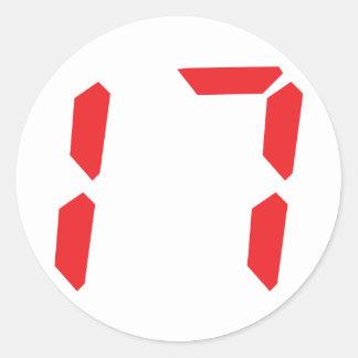17 seventeen red alarm clock digital number round sticker