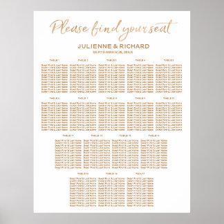 17 Tables Wedding Seating Plan Rose Gold Sign