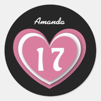 17 Year Old Birthday Layered Hearts V17R Round Sticker