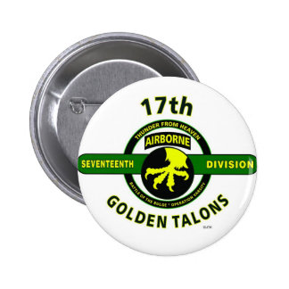 """17TH AIRBORNE DIVISION """"THUNDER FROM HEAVEN"""" 2 INCH ROUND BUTTON"""