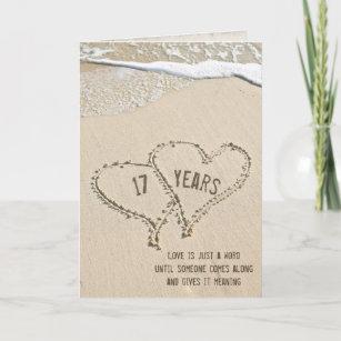 17th Anniversary Beach Hearts Card