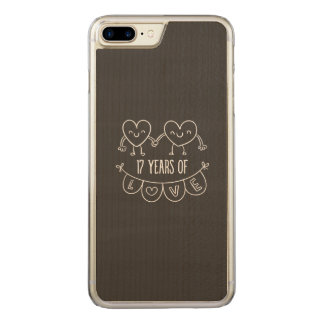 17th Anniversary Chalk Hearts Carved iPhone 7 Plus Case