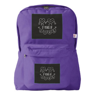 17th Anniversary Gift Chalk Hearts Backpack
