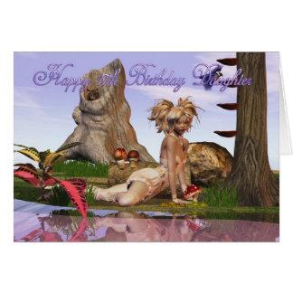 17th Birthday Darling Daughter, Elf fantasy lake Card