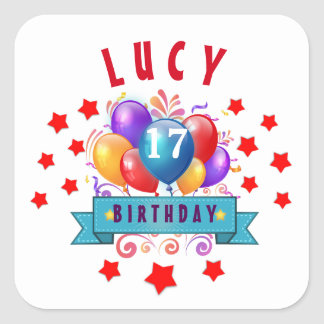 17th Birthday Festive Balloons and Red Stars 105Z Square Sticker
