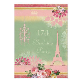 17th Birthday Pink Eiffel Tower and Chandelier Invitations