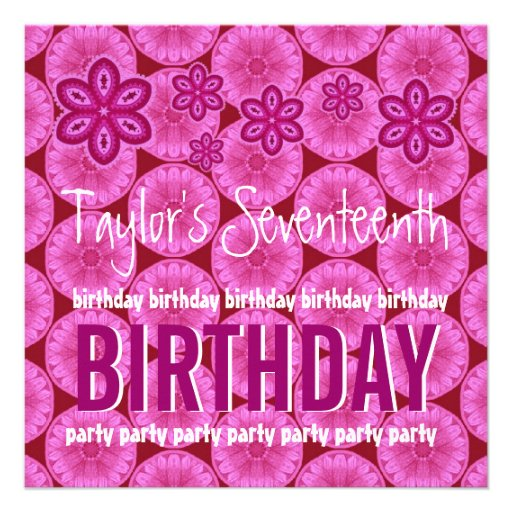 17th Birthday Pink Flowers Teen Girl Custom Name Custom Invitations