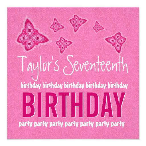 17th Birthday Pink Flowers Teen Girl Custom Name Personalized Announcement