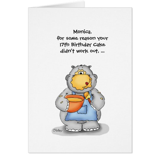 17th Birthday with baking Hippo - Personalize Card