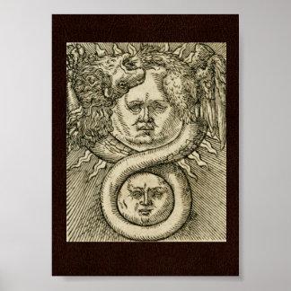 17th C. Alchemy Illustration: Sun, Moon & Dragon Poster