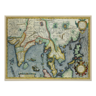 17th Century Antique Asian Map, Mercator / Hondius Poster