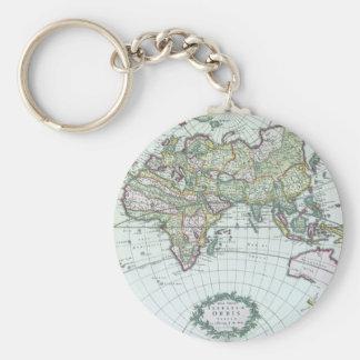 17th Century Antique World Map, Frederick De Wit Basic Round Button Keychain